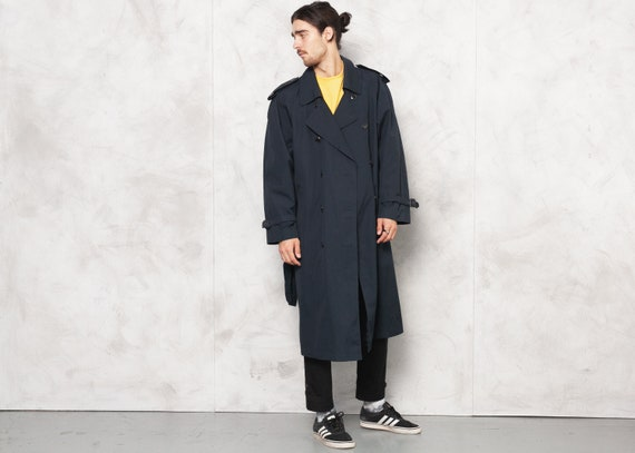 Navy Blue Trench Coat Vintage 90s Mens Double Brea