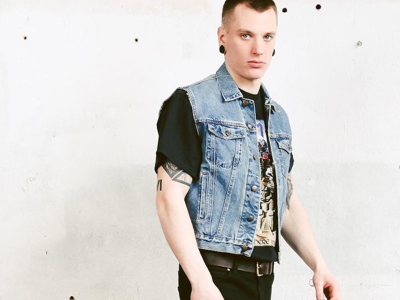 b161e26e8 Mens Denim Trucker Vest . 90s Medium Wash Jean Vest Vintage Sleeveless  Denim Jacket Faded Blue Vest Unisex Denimwear . size Small S