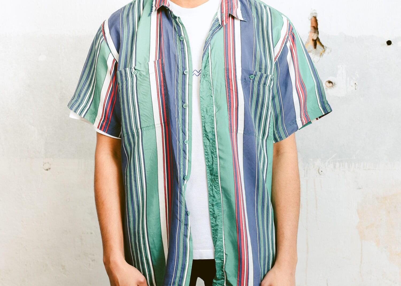 cb736c22fbb2 Striped Silk Shirt . Men s Vintage Short Sleeve Striped Retro Shirt  Colorful Pattern Funky 90s Shirt Oversized Mens Shirt . size Medium M