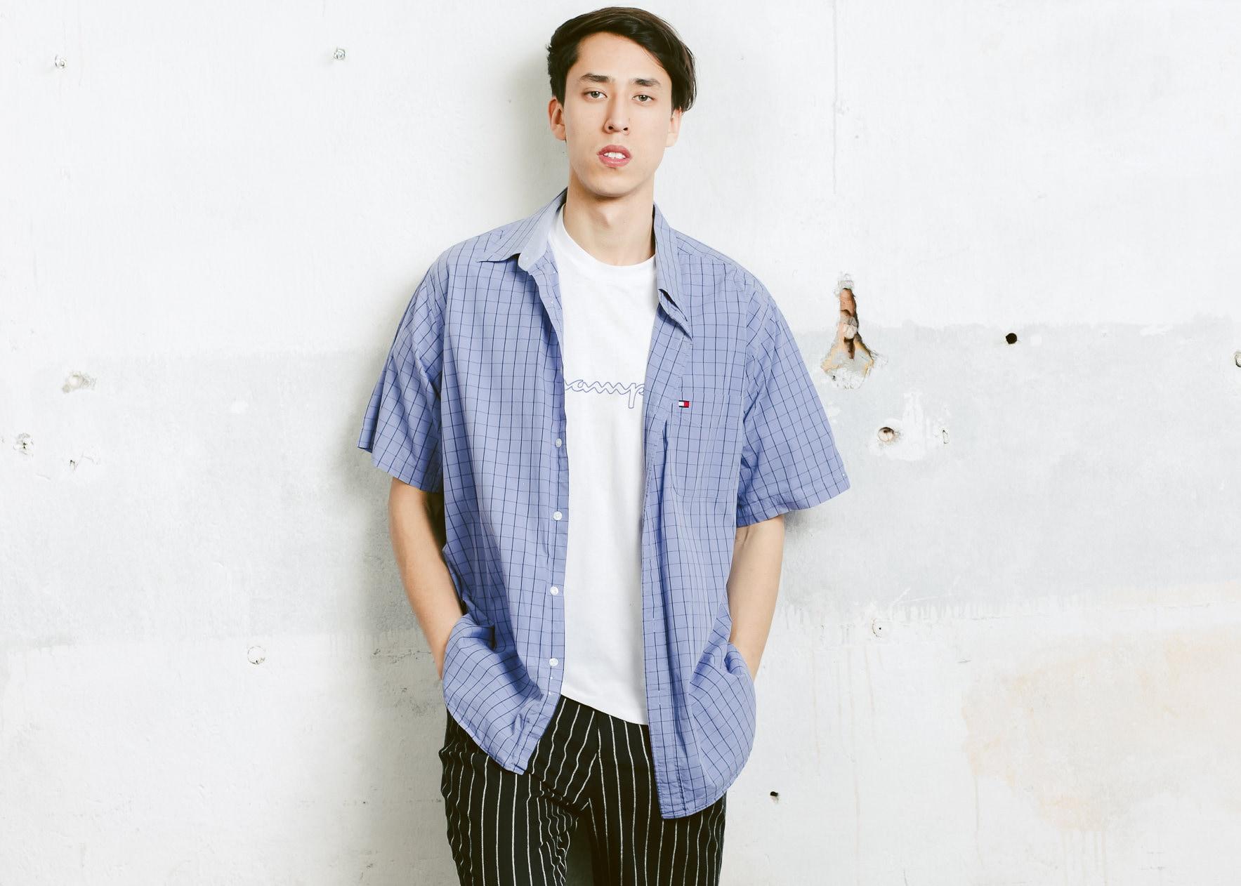 3b0de131baf7f 90s Tommy Hilfiger Shirt . Vintage Short Sleeve Blue 90s Shirt Casual ...