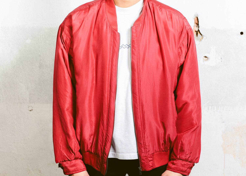5c6c5e901ba Padded Bomber Jacket . 90s Vintage Silk Bomber Zip Up Red Oversized Jacket  Windbreaker Spring Autumn Outerwear . size Extra Large XL