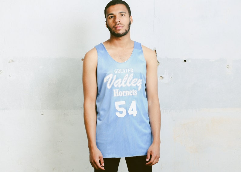 a859060e64ece0 Mens Blue Workout Shirt . Vintage 90s Sleeveless Top Jersey