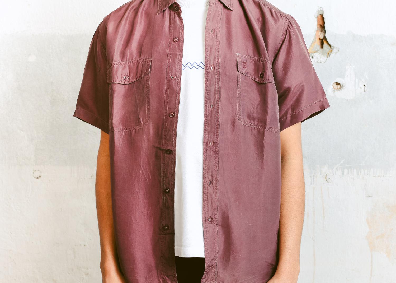 ff33e2b6374 Vintage Silk Shirt . Men s 90s Summer Shirt Lightweight Shirt Button Down  Minimalist Oversized 90s Shirt Boyfriend Shirt . size Medium M