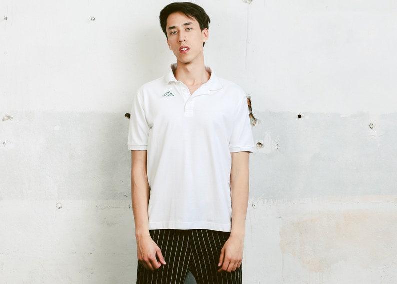 b1426bab49285 Crisp White Kappa Polo Shirt . 90s Minimalist Oversized Top Retro Cotton  T-Shirt Activewear Mens 90s Tee Shirt Menswear . size Large L