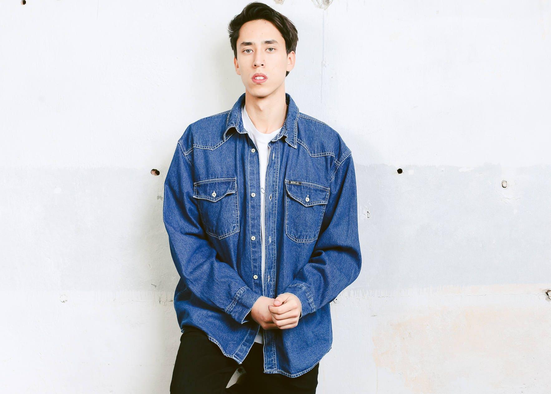 90s Mens Oversized Shirt Vintage Long Sleeve Denim Shirt