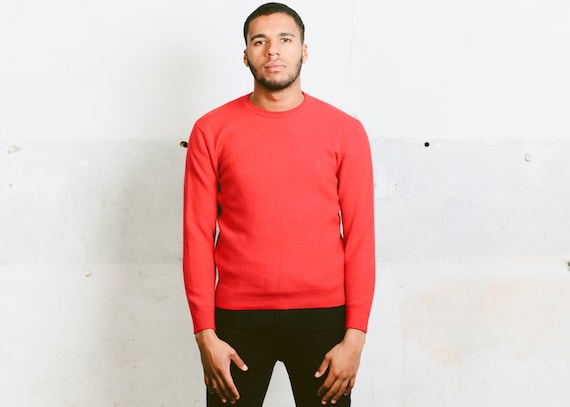 Vintage Cashmere Sweater 90s Mens Red Sweater Minimalist Top Unisex Pullover Merino Wool Sweater Boyfriend Gift 90s Mens Top Size Large