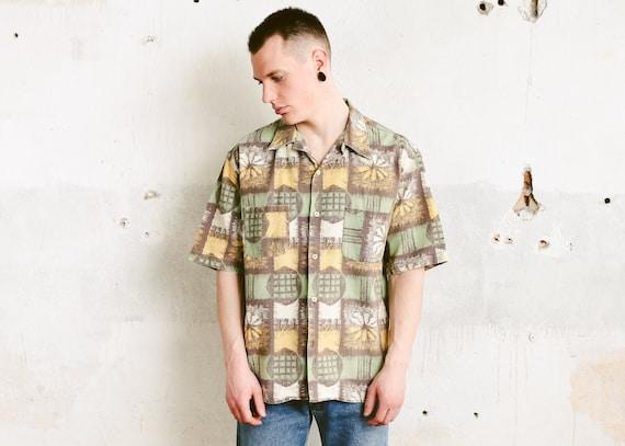 Vintage 1980s Mens Abstract Shirt Short Sleeve Button Up Geometric Pattern Shirt Mens Summer Shirt