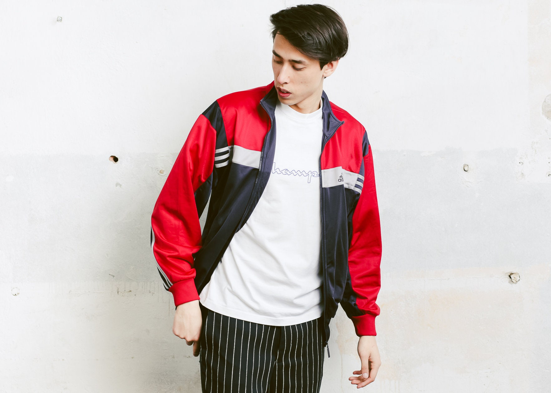 6751ddd83ed Adidas Track Jacket . 90s Vintage Adidas Red Black Jacket Zip Up Sports  Jacket Unisex Tracksuit Top Streetwear Rave Jacket . size Small S