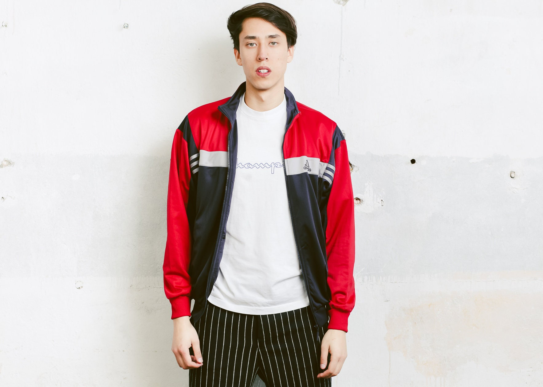 5d002aec5d8 Adidas Track Jacket . 90s Vintage Adidas Red Black Jacket Zip Up ...