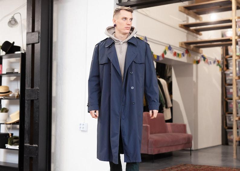 size Extra Large XL 70s Men Coat Blue Coat Unisex 1970s Outerwear Men Clothing Spring Detective Coat Men Trench Coat