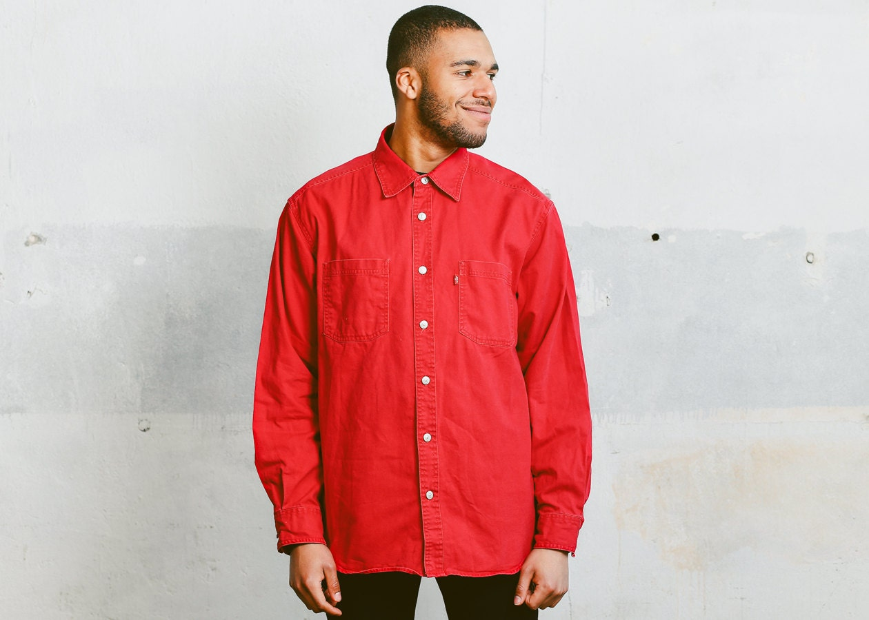 af5db8985cf Vintage Levis Denim Shirt . Men s 90s Jean Shirt Red Oversized Shirt ...