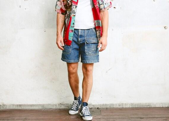 e8bb13c5f1 Denim Cargo Shorts . Mens Vintage 90s Jean Shorts Classic 90s | Etsy