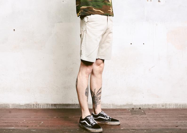 90s Short Pants Beige Summer Shorts Casual 90s Shorts Normcore Boyfriend Wear Safari Clothes Vintage Mens Bermuda Shorts size Medium M