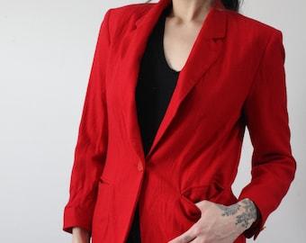 936519a2ee1 vintage 80 s pendleton wool petite button blazer • bright red wool blazer •  cropped 3 4 sleeve wool blazer • women s size 8 medium - large