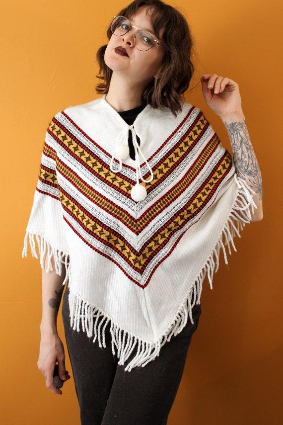 70s Knit Poncho Vintage 1970s Fringed Poncho Blanket Poncho Boho Striped Sweater Shawl