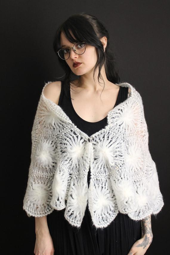 vintage 40's - 50's handmade acrylic doily shawl … - image 6