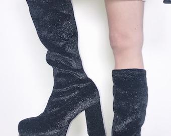 2cd78f573d2f 90s Spice Girl Platform Sparkly Boots