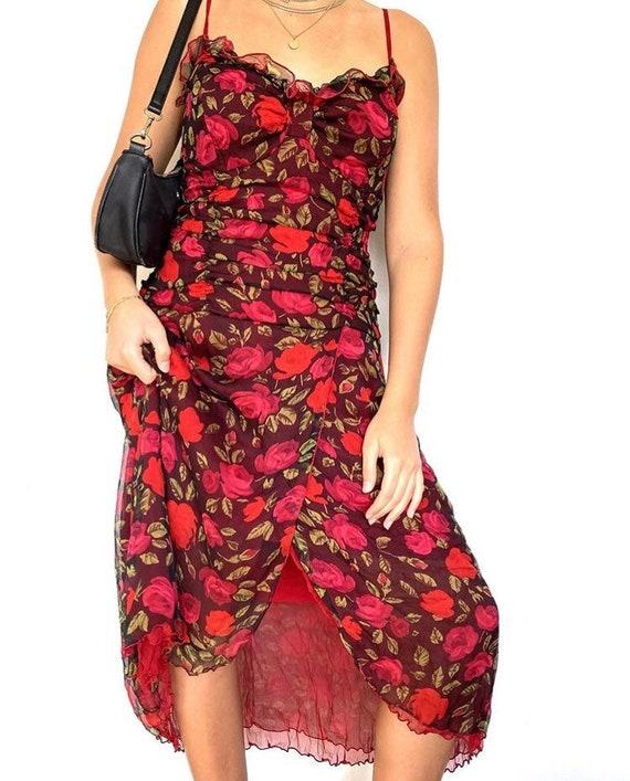 Y2K ruffle floral dress
