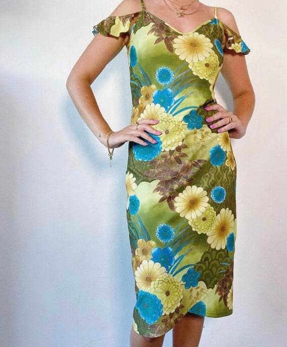 Green floral 2000s dress