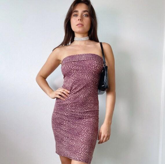 2000s leopard print strapless dress