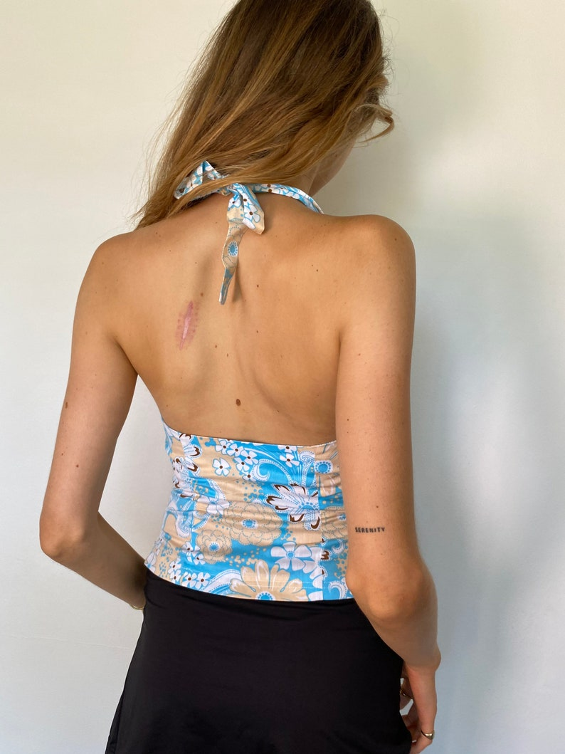 2000s deadstock tan and baby blue floral halter