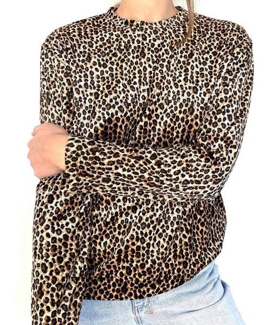 90s vintage high neck leopard top
