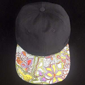 8493644ceb6 Abstract Floral Doodle Six Panel Hat