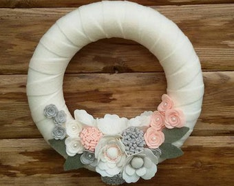 felt wedding wreath, floreal wreath,  gift for couple, gift for new home, bride gift, maid of honor gift, mother of the bride  of the groom