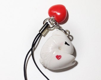 Croissant Bunny with Red Valentine Heart strap