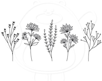Wildflowers Set A - Floral - Flower Sketch - Svg, Png, Dxf and Eps 4 formats - Vector - Cricut or Silhouette - Digital Download