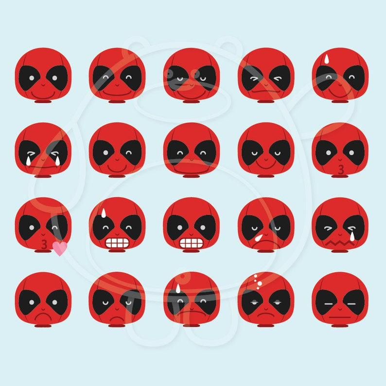 40 Deadpool Emojis Digital Clipart - PNG Format - Personal and Commercial  Use