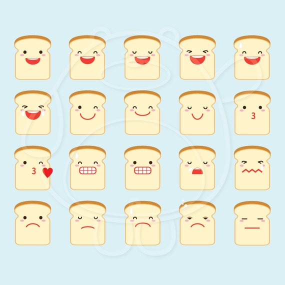 40 Bread Emojis Digital Clipart - PNG Format - Personal and Commercial Use