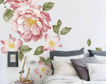 921336183 Romantic Colorful Peony Flowers 3D Wall Sticker For Living Room Home Decor  DIY Art Decals Background Wall Decoration Accessories
