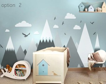 Mountain Eagles Pine Trees Clouds Wall Sticker For Living Room Home Decor DIY Art Decals Background Decoration Accessories
