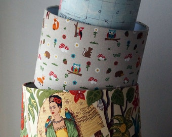 Woodland drum lampshade. Woodland, Fox, Hedgehog, Owls, Forest fabric