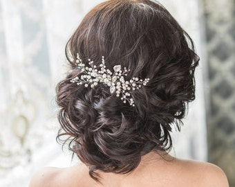 Bridal Hair Comb with Swarovski Pearls Bridal Headpiece Bridal Hair Piece  Leaf Hair Comb 9f5cc6438