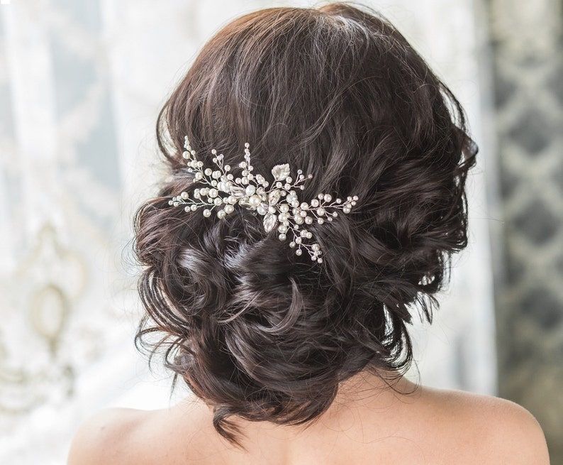 Bridal Hair Comb with Swarovski Pearls Bridal Headpiece Bridal image 0