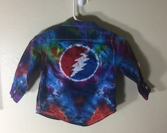 Awesome 9-12 month long sleeve tie dye batik grateful dead