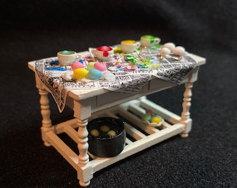 """1/2"""" or 1/24 Scale Miniature Easter Egg Dying Table"""