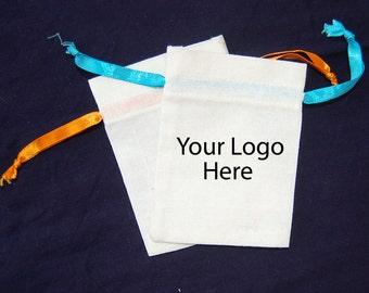White Cotton bag,Personalised logo drawstring pouches 100 pcs