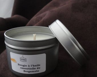 Essential oils of bergamot, and natural rapeseed wax candle
