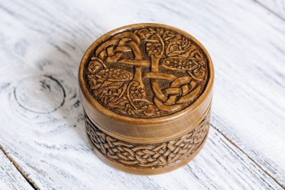 Carved Wooden Small Box Celtic Ornament Personalized Wedding Gift Viking Bird Storage Wood Carving Craft Custom 5th Anniversary Engagement