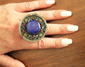 Vintage Lapis Ring Afghan Kuchi Ring Ethnic Tribal Ring Gypsy Lapis Turquoise Ring