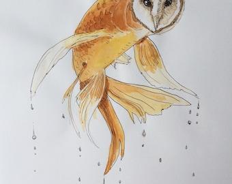 Original pen and watercolour drawing of an owl-fish