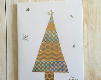 Merry Christmas, Merry Christmas, scrappbooking, handmade card handmade, tree, washi tape, silver and white gold envelope