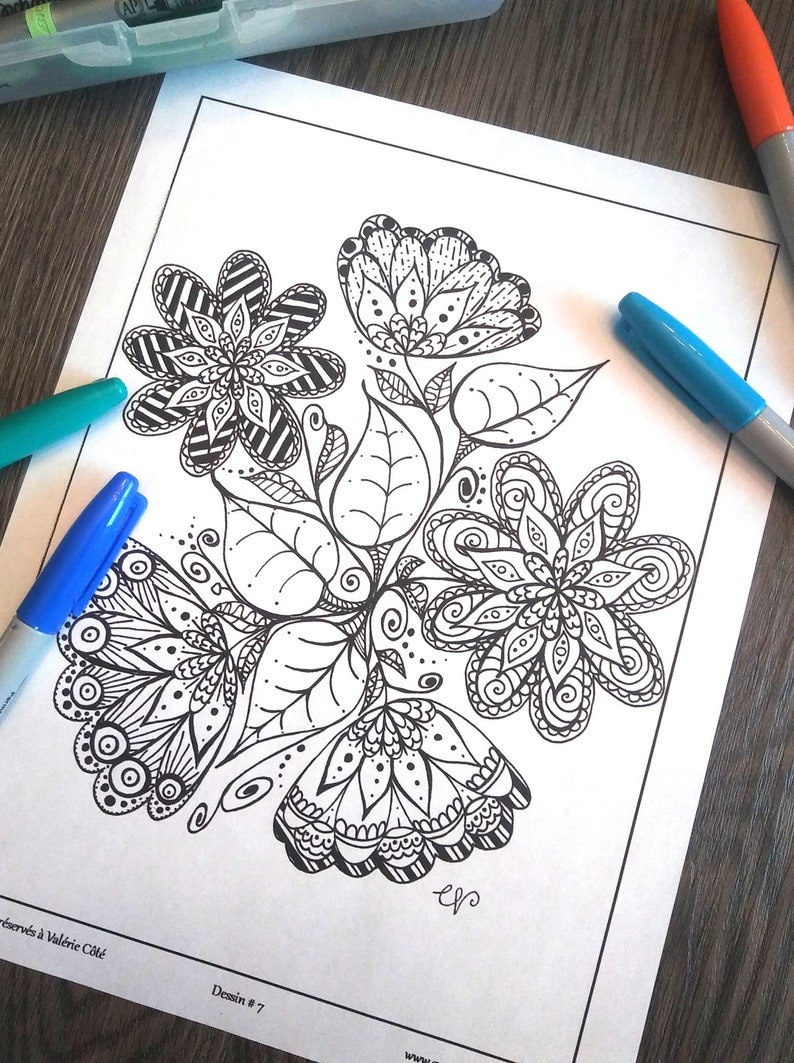 Coloriage Eclat De Fleurs Dessin No7 Coloriage Zen Etsy