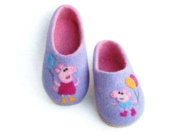6eec827f9566 Kids Slippers for Girl - Wool felt slippers - Handmade Child wool slippers  - Warm kids home shoes