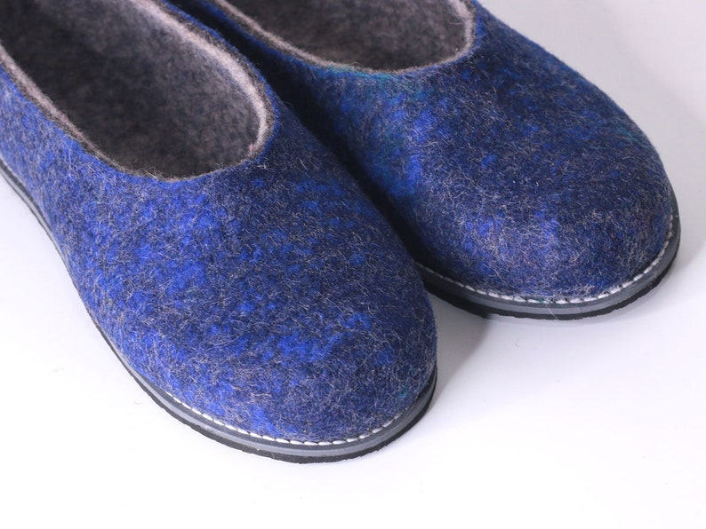 b1269710753 Ready to ship SIZE 8 Woman Felted wool slippers blue Women