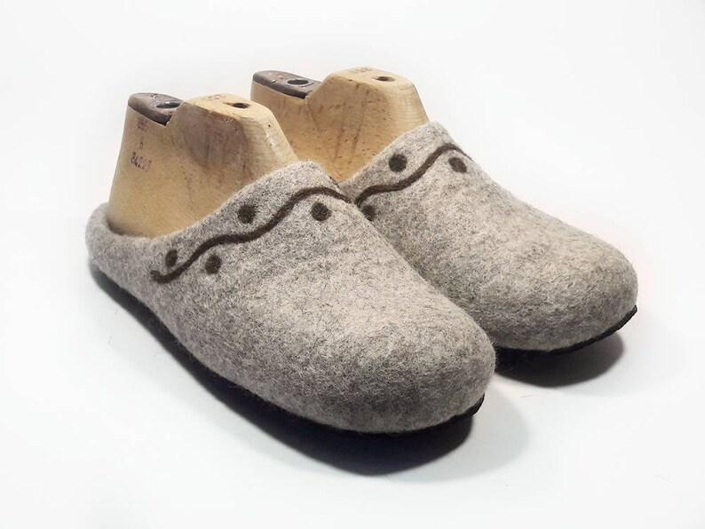 b3296fe8c52dd Womens felt wool Slippers Handmade home felt shoes Beige warm slippers  House Women felted wool slippers - felt slippers - House women shoes