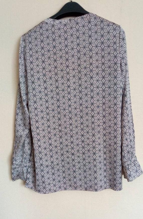 Vintage pink, grey top, Bow blouse, Silk like sec… - image 3